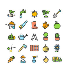 gardening signs color thin line icon set vector image vector image