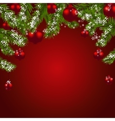 Green fir branches with red balls Christmas vector image