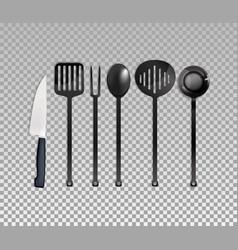 realistic cutlery set vector image vector image