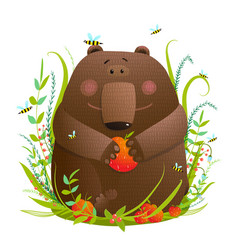 bear cub eating apples in forest vector image vector image