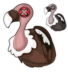 Handmade soft toy vulture bird vector image