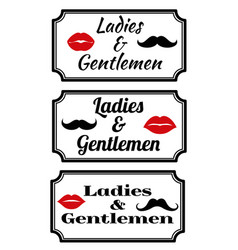 ladies and gentlemens with lips and mustaches vector image vector image
