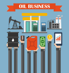 Oil business concept design flat with hands vector
