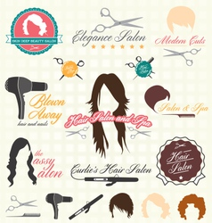 Retro Style Hair Salon Labels and Icon vector image vector image