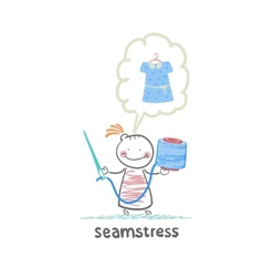 Seamstress holding thread and needle and thinks vector
