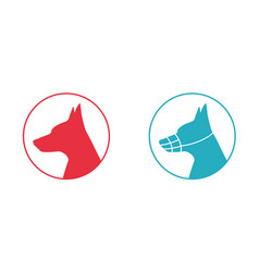 silhouette of a dog head with muzzle icon vector image vector image