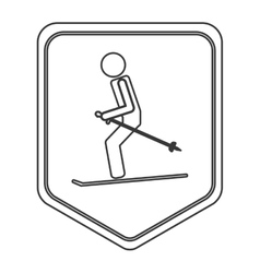 skiing pictogram icon shield emblem vector image