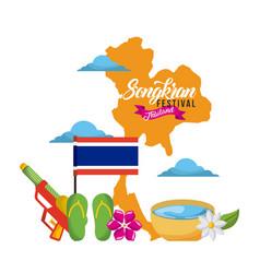 songkran festival thailand map landmark flag vector image