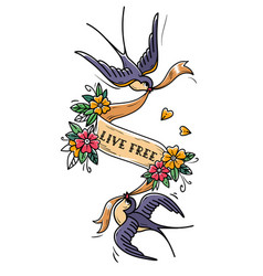 two swallows fly and carry ribbon in flowers free vector image