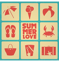 Vintage summer poster with icons Retro colors vector image