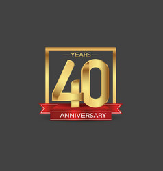 40 years anniversary logo style with golden vector