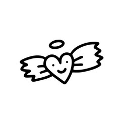 A heart with wings the heart an angel vector