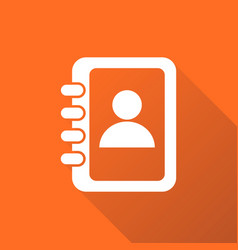 Address book icon with long shadow contact note vector