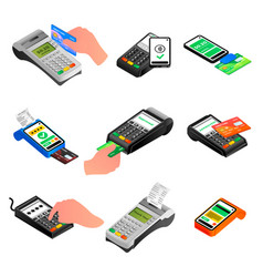 Bank terminal icons set isometric style vector