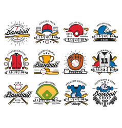 Baseball sport game isolated icons and items vector