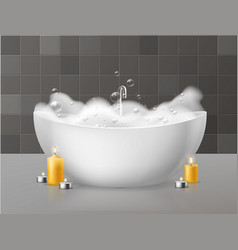 bath with foam relaxing bath with soap bubbles vector image