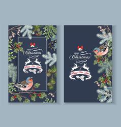 Bird christmas banners vector