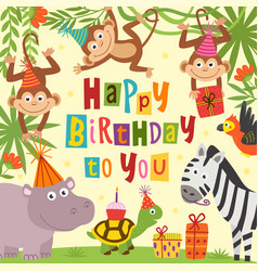 birthday card with cheerful jungle animals vector image