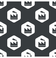 Black hexagon factory pattern vector