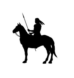 black silhouette of indian on horse vector image