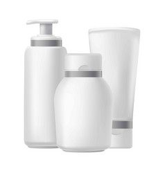 Blank three beauty hygiene containers isolated on vector