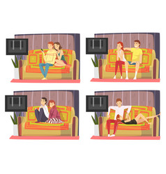 bored couples sitting on couch and watching tv set vector image