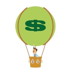 Business man on hot air balloon with money icon vector