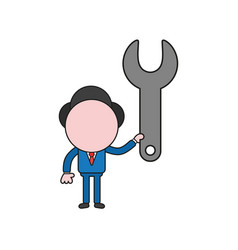 Businessman character holding spanner color and vector