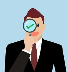 Businessman check the quality through a magnifying vector image