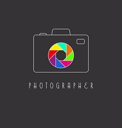 Camera logo colored aperture camera lens vector
