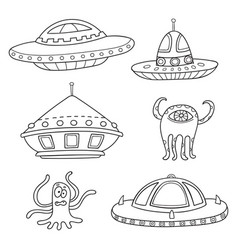 Card with space objects ufo rockets aliens vector