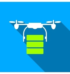 Cargo Drone Flat Long Shadow Square Icon vector image