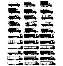 cargo trucks silhouette 04 vector image