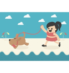 Cartoon Businesswoman happy summer vector