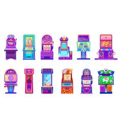 Cartoon casino slot and kids arcade game machines vector
