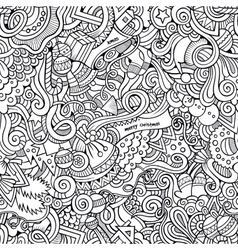 Cartoon doodles hand drawn New Year and vector