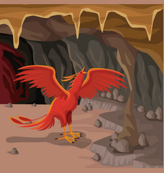 Cave interior background with phoenix greek vector