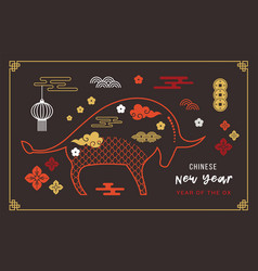 Chinese new year 2021 year ox chinese vector