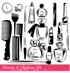 collection of beauty and fashion objects vector image