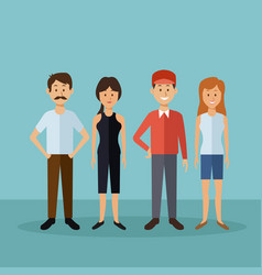 color background with full body people standing vector image
