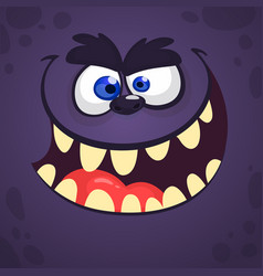 Cool cartoon scary black monster face vector