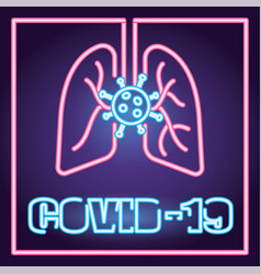 Covid19 particles and lungs neon light style vector