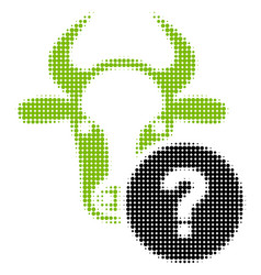 Cow unknown status halftone icon vector