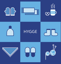 cozy knitted clothing hygge concept vector image