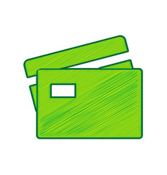 Credit card sign lemon scribble icon on vector