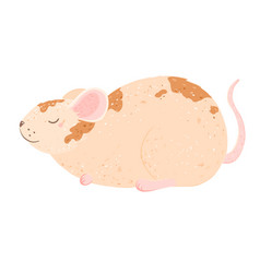 cute cartoon mouse lies happy and smiling vector image