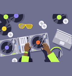 Dj hands on sound mixer console panel music vector