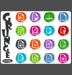 documents icons set in grunge style vector image vector image