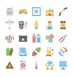Energy and power flat icons vector