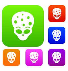 Extraterrestrial alien head set collection vector